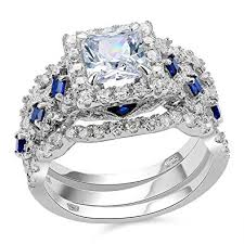 925 sterling silver engagement rings newshe 3pcs 2 5ct princess white cz blue 925 sterling