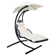 Outdoor Hanging Lounge Chair Blue Wave Island Retreat Hanging Patio Lounge With Shade Canopy In