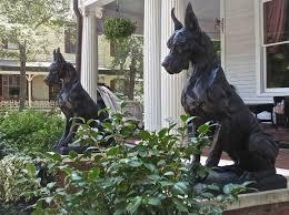 guard dog statue sculpture great dane sentinel big bronze seated dog statue