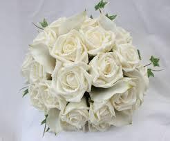 Silk Bridal Bouquet Cream Rose And Calla Lily Bridal Wedding Bouquet Bridal Wedding