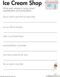fix the sentences ice cream shop the sentence sentences and