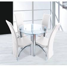 Glass Dining Sets 4 Chairs Cool Compact Clear Glass Dining Set 4 Chairs In Table