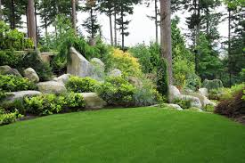 backyard beautiful garden in summer the soil controlling in the