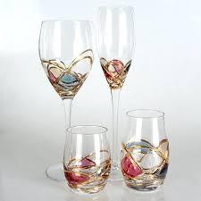glass stemless wine glasses bulk cut glass wine glasses amazon