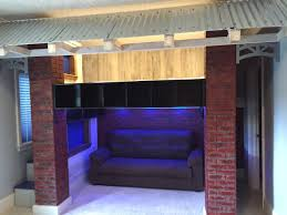 Bedroom Ideas Brick Wall Baseball Dugout Loft Bed Faux Brick Walls And Columns With Lounge
