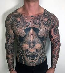 hannya mask tattoo black and grey hannya mask tattoo front body angry big hannya mask idea golfian com