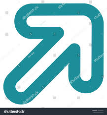 Soft Blue Color Rightup Arrow Vector Icon Style Linear Stock Vector 474973420