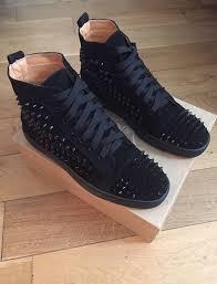 christian louboutin black suede unisex men women trainers shoes
