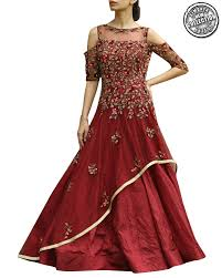 gown designs shop gowns in net and banarasi silk fabric fused with maroon from