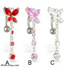 butterfly with dangle reversed belly button rings length 7 16