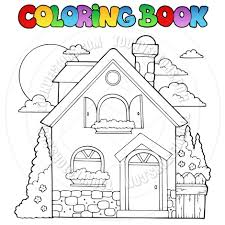 cartoon coloring book house theme by clairev toon vectors eps 37499