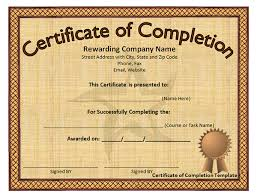 printable certificates of completion sampleprintable com
