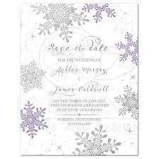 Save The Date Invitation Purple Silver Winter Wedding Save The Date Invitation