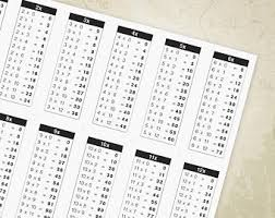 Multiplication Tables Pdf by Multiplication Chart Etsy