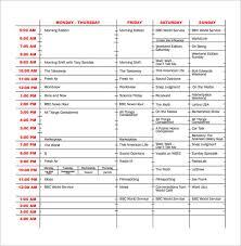 Radio Station Schedule Template program schedule templates 12 free word excel pdf format