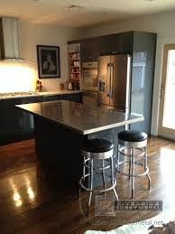 landscape grey wooden kitchen island with grey granite top