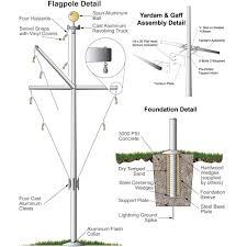 single mast aluminum nautical flagpole with yardarm and gaff