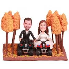 four wheeled car autumn wedding cake toppers