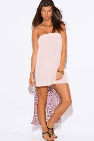 Long Dresses For Cocktail Party - peach pink tropical floral palm print bejeweled draped backless