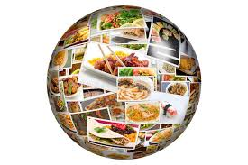 cuisine du monde globe de collage de cuisine du monde illustration stock