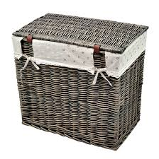 double laundry hamper with lid rectangle wicker hand woven family size divided double laundry