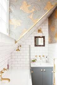 bathroom wallpaper designs powder room arabesque tiles limestone tops kohler kathryn