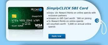 amazon com great bazaar vijaya free rs 500 amazon in gift card on sbi simplyclick credit card