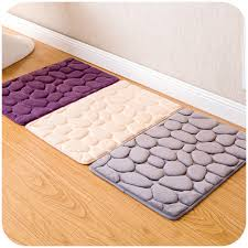 Modern Bath Rug Cobblestone Soft Bathroom Rug 60 40cm Non Slip Bath Mat 4 Colors