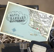 vintage save the date map postcard save the date santa barbara ca