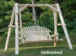 Log Outdoor Furniture by 5 U0027 Cedar Log Porch Swing With Stand Rustic Indoor U0026 Outdoor