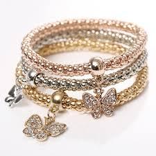 butterfly bracelet charms images 3pcs set women men gift jewelry decoration butterfly charm gold jpg