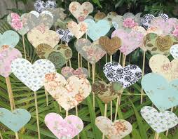 100 shabby chic roses hearts on a stick wedding aisle
