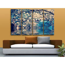 oversized flower above water painting living room 4 pieces art print floral wall art