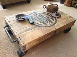 industrial railroad coffee table cart with 5 metal swivel caster