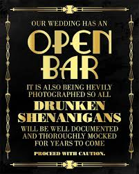 Great Gatsby Themed Party Decorations Open Bar Wedding Sign Great Gatsby Themed Party Supplies Roaring