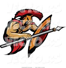 vector of a battling cartoon spartan warrior using shield and