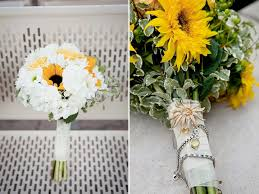 Sunflower Wedding Bouquet White And Yellow Sunflower Bridal Bouquet With Her Something Old