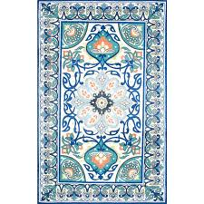 Jewel Tone Area Rug Nuloom Floral Leda Blue 8 Ft X 10 Ft Area Rug Bhbz01a 8010 The