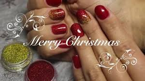 christmas nail design red gold simple fast youtube