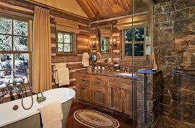 cabin bathroom designs diseño baños rusticos paredes oiedras ducha interiores para