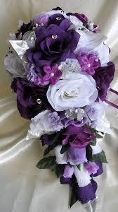 silk flowers for weddings wedding bouquet bridal silk flowers cascade plum purple silver