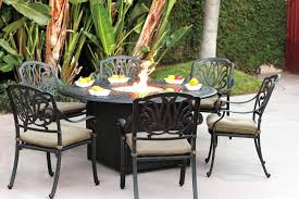 fire pit table round patio furniture dining set cast aluminum