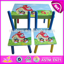Cheap Childrens Desk And Chair Set Colorful Wooden Kids Study Desk And Chair Set Dual Purpose Happy