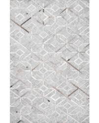 Modern Gray Rugs Deal Alert 17 Handmade Modern Cowhide Geometric Leather