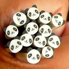 panda polymer clay cane animal bear fimo cane kawaii nail art nail