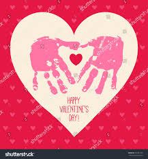 happy valentines day card design handprint stock vector 365321930