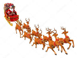 santa claus rides reindeer sleigh on christmas u2014 stock photo