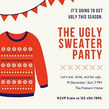 and blue illustration sweater invitation