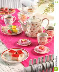 Tea Party Table by High Tea Birthday Party Table Setting With Food Stock Photo