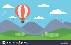 the hill balloon view mountain landscape with a hot air balloon flying